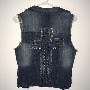 Sapphire Ink | Distress Cross Jean Vest